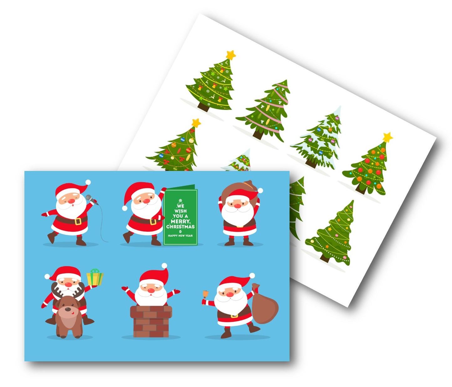 ECO CHRISTMAS CARDS PK10 - SANTA & TREES