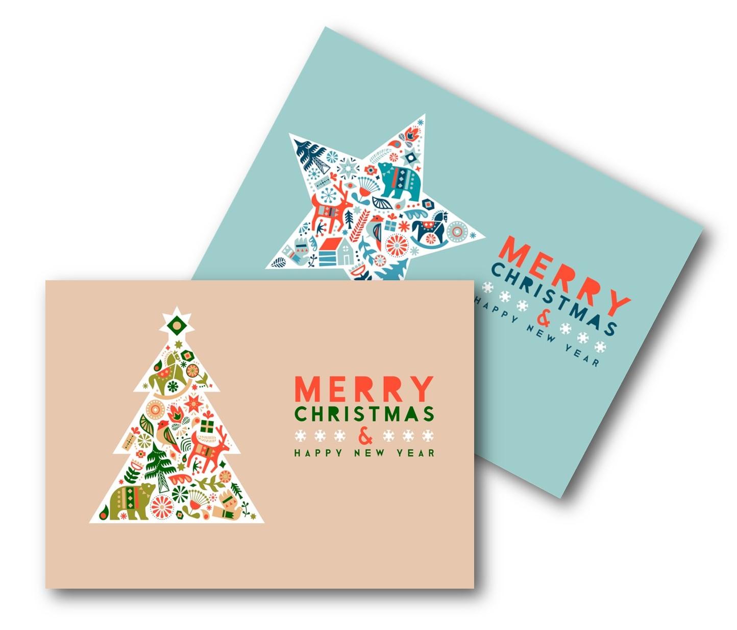 ECO CHRISTMAS CARDS PK10 - STAR & TREE